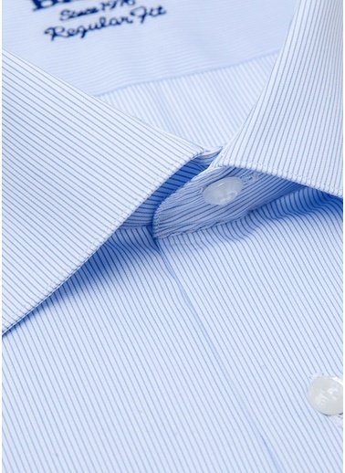 Bisse GM19Y91169 Regular Fit Çizgili Klasik Gömlek Mavi